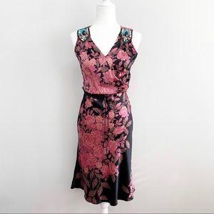Plenty | Silk Floral Beaded Shoulder Midi Dress 4